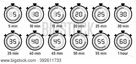 Countdown Timer With Digital Display. Clock, Stopwatch, Digital Timers Vector Icon Set. Full Rotatio