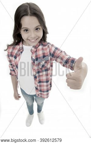 Nice Choice. Highly Recommend. Kid Girl Shows Thumb Up Gesture, Isolated White Background. Girl Happ