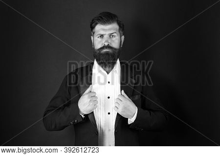 Looking Good Does Not Have To Take Too Much Effort. Well Groomed Man With Beard In Suit Jacket. Male