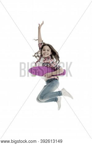 Active And Happy. Kid Having Fun With Penny Board. Child Smiling Face Stand Skateboard. Penny Board