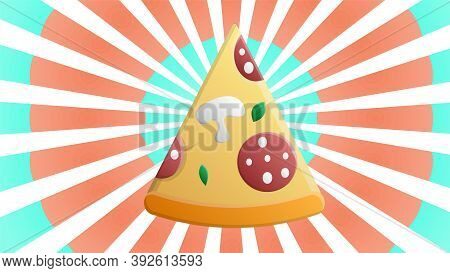 Slice Of Pizza On A Blue-pink Retro Background, Vector Illustration. Pizza Stuffed With Sausage, Bac