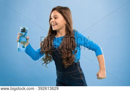 Drink Some Liquids. Living Healthy Life. Health And Water Balance. Girl Hold Water Bottle Blue Backg