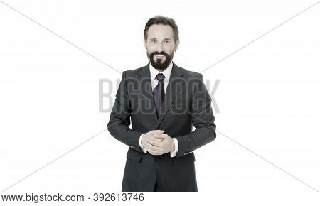 Glad To Help You. Businessman Classic Formal Clothing Smiling Face. Business Manager Guarantees Serv