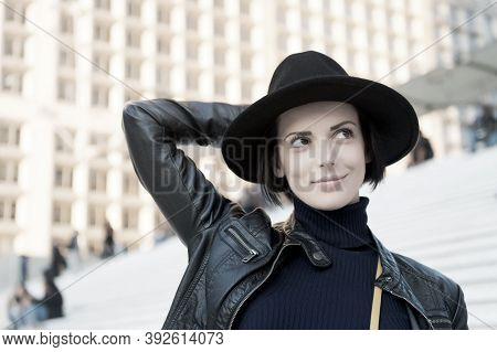 Beauty, Look Makeup. Woman In Black Hat Smile On Stairs In Paris France Fashion. Fashion, Accessory,