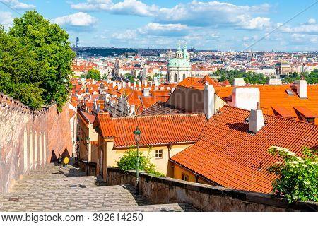 Castle Stairs Of Prague Castle Leads Down To Lesser Town With Saint Nicholas Church, Praha, Czech Re