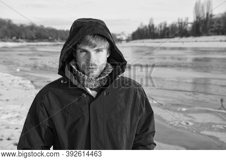 It Is So Cold. Love Winter Nature. Man In Red Parka. Winter Male Fashion. Warm Clothes For Frost. Ch