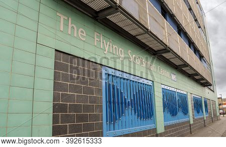 Doncaster, Yorkshire, England -  October 7, 2020. Close Up Of The Flying Scotsman Health Centre Name