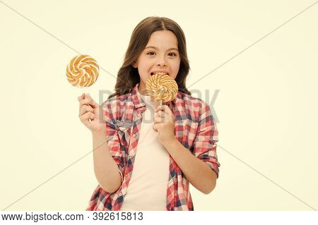 Sugar Addiction. Healthy Nutrition Diet. Girl Like Sweets Lollipop Candy White Background. Sweets Re