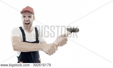 Destroy And Build. Repair Service. Repair And Renovation Concept. Handyman Home Repair. Repairing An