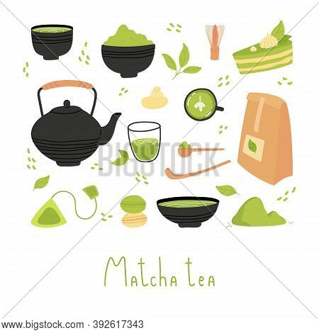 Set Of Various Tea Products Made From Matcha. Matcha Powder, Whisk, Macarons, Cake, Bamboo Spoon, Te