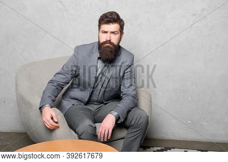 Candidate For Job Waiting Result Of Interview. Decision Making Is Part Of Management. Man Bearded Bu