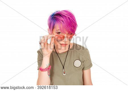 Headshot Serious Angry Bitchy Woman Wife Holding Sunglasses Down Skeptically Looking At You Isolated