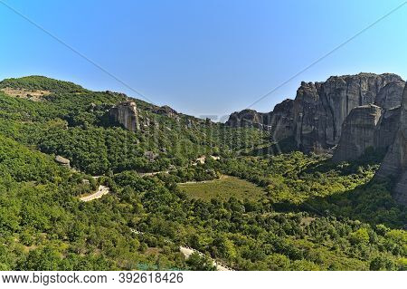 View On Meteora Monasteries On A Summer Day