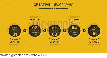 Infographic Design Template With Numbers 5 Option Can Be Used For Workflow Layout, Diagram, Number S