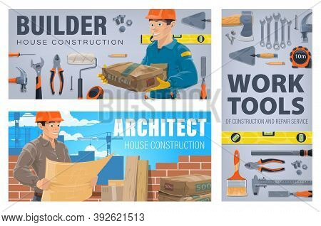 House Construction Workers And Tools Banner. Builder Holding Sack Of Cement, Construction Architect