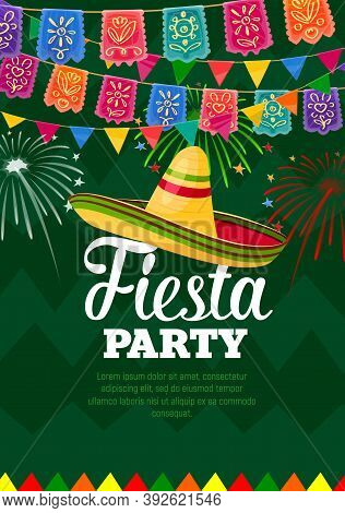 Fiesta Party Vector Poster, Mexican Symbols Sombrero And Colorful Flag Garlands With Fireworks On Gr