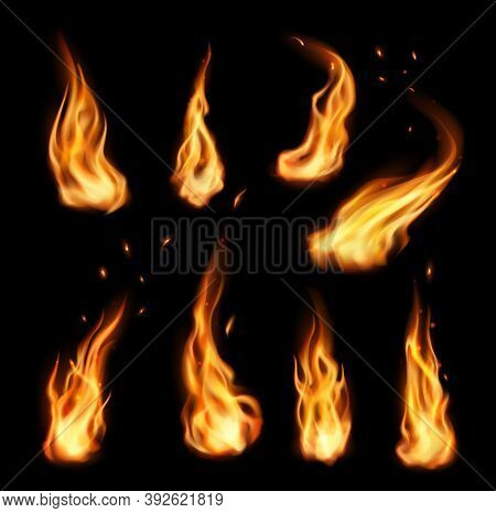 Fire, Vector Campfire, Isolated Torch Flame. Realistic 3d Ignition Tongues, Burning Bonfire Blaze Ef