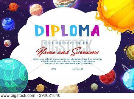 Education School Diploma, Kindergarten Certificate With Vector Cartoon Solar System Planets In Dark