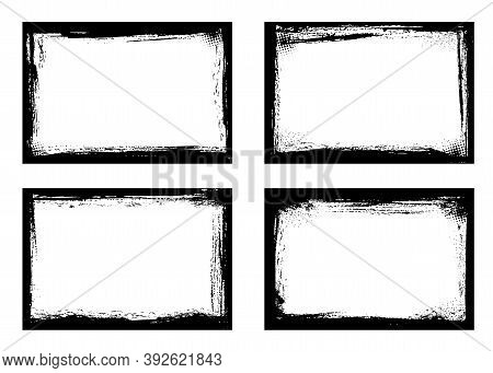 Grunge Frames Isolated Vector Black Borders Of Rectangular Shape With Scratched Rough Edges On White