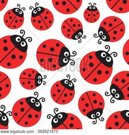 Ladybug Pattern, Vector Seamless Wrapping Paper Or Cute Baby Design. Ladybird Decorative Fabric With