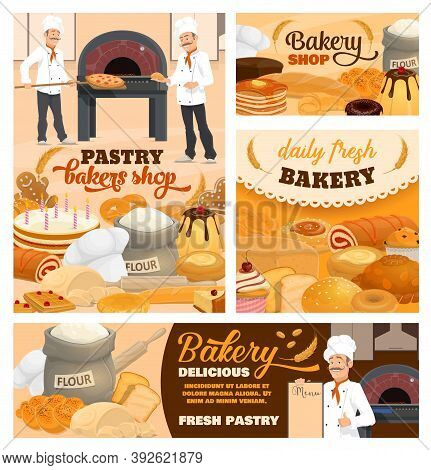 Pastry Shop And Bakery Cartoon Vector Posters Set. Pizzeria Chef, Baker In Toque With Menu, Holiday
