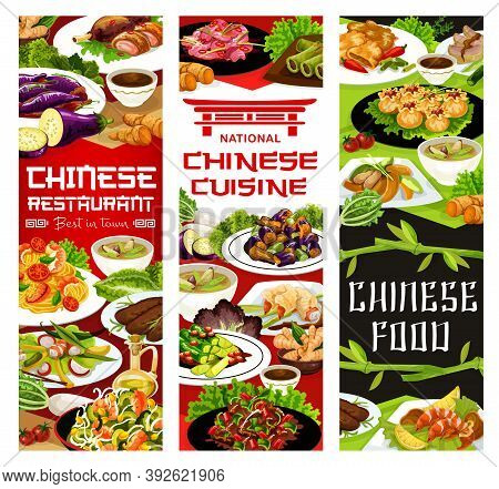 Chinese Cuisine Food Vector Banners. Bamboo And Funchoza Salad, Baked Breaded Shrimps, Peking Duck W