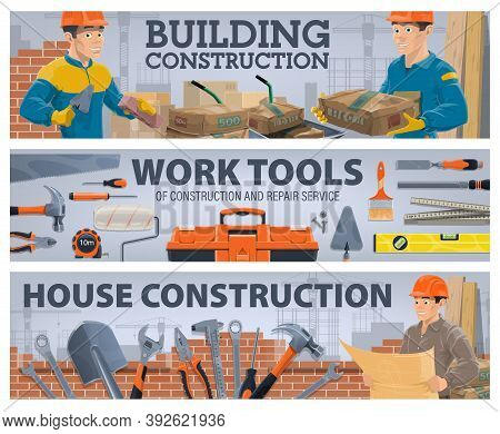 Construction Industry Workman And Work Tools Banners. Bricklayer With Trowel, Builder Carrying Cemen