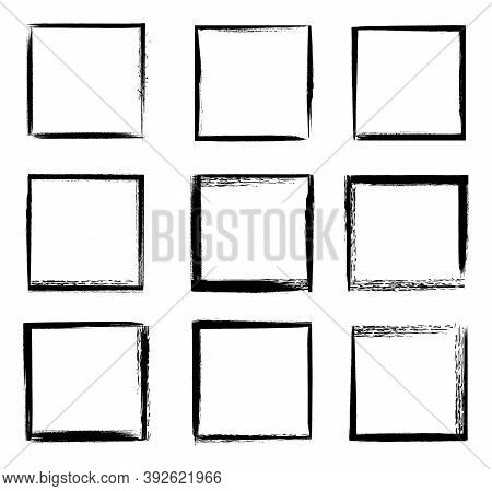 Grunge Frames Isolated Vector Black Square Shape Borders With Scratched Rough Edges On White Backgro