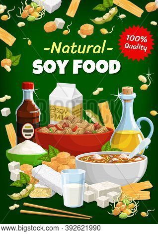 Soy Food And Natural Soybean Vector Products. Asian Cuisine, Vegetarian And Vegan Miso Soup With Soy