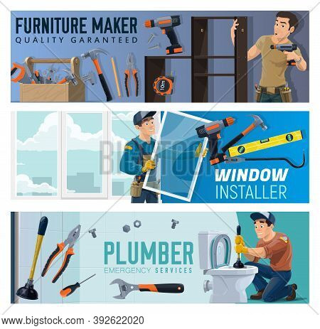 Furniture Maker, Windows Installer And Plumber Service Banners. Handyman With Screwdriver Assembling