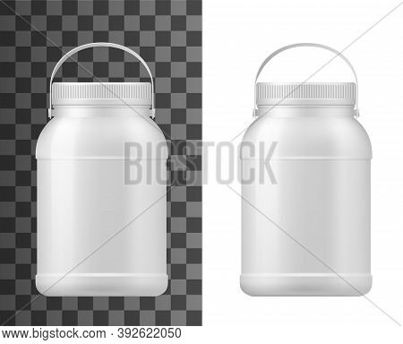 Plastic Jar Isolated Vector Big Mayonnaise Package, Conserved Container, Bottle With Lid And Handle.