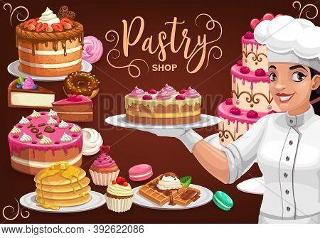 Pastry Shop, Patisserie Bakery, Vector Baker Woman Presenting Cake, Homemade Desserts, Bake Pancakes