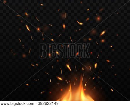 Fire, Burning Bonfire With Sparks And Embers Flying Up, Vector Glowing Flame With Particles. Realist