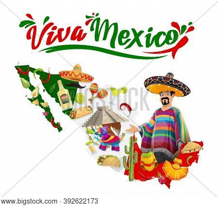 Viva Mexico Vector Poster With Mexican Man In Sombrero And Poncho, Maracas, Kukulkan Temple And Map