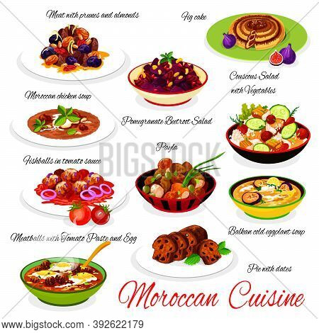 Moroccan Cuisine Meals With Chicken And Fish Meat Vector. Paella, Vegetables Couscous Salad, Fishbal