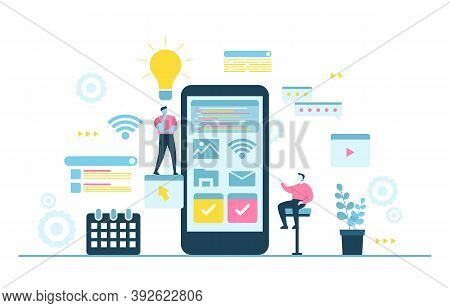 People Build Mobile App Development Process Flat Design Illustration