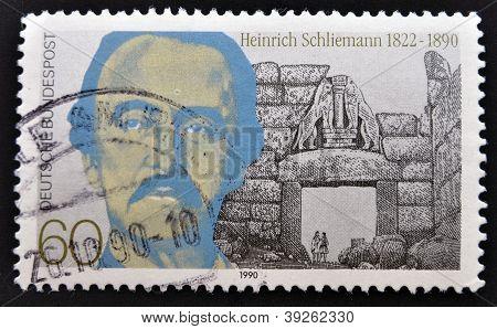 GERMANY - CIRCA 1990: A stamp printed in Germany shows Heinrich Schliemann circa 1990