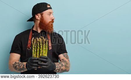 Horizontal Shot Of Serious Bearded Man Chef Looks Away, Holds Asparagus, Ready To Make Spring Salad,