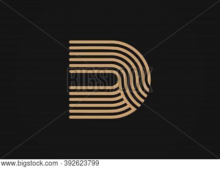 Letter D Logo, Vector Smooth Parallel Thin Lines Art Style, Sleek Linear Shape, Minimal Overlapping