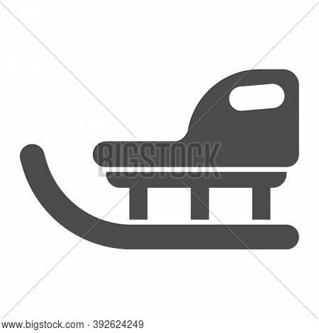 Children Winter Sled Solid Icon, Christmas Concept, Christmas Sleigh Sign On White Background, Sled