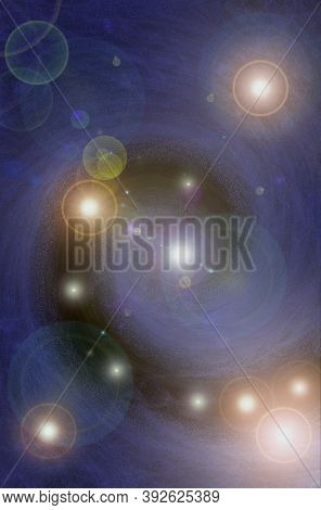 Background With Space.abstract Swirl Lights Stars Galactic Blue And Black Grunge Background Banner W