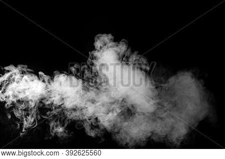 The White Smoke Isolated On Black Background