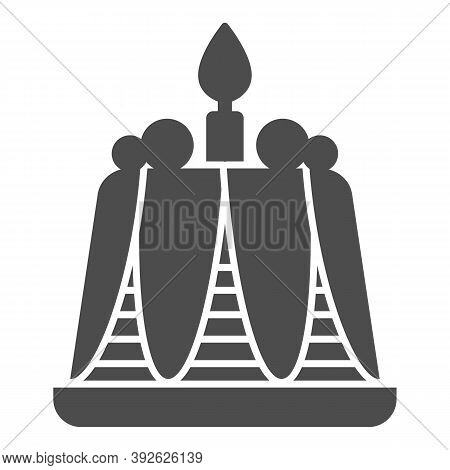 Pudding With Candle Solid Icon, Bakery Concept, Birthday Cupcake Sign On White Background, Delicious
