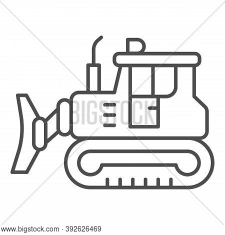 Excavator Thin Line Icon, Heavy Equipment Concept, Backhoe Sign On White Background, Excavator With