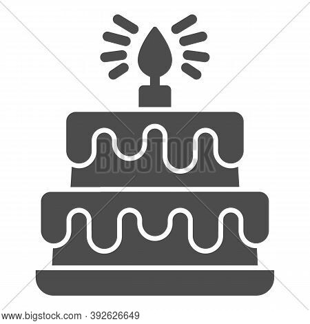 Birthday Storey Cake Solid Icon, Birthday Cupcake Concept, Two Tiered Cake Sign On White Background,