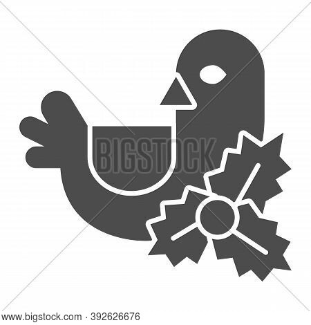 Holly Berry And Bird Solid Icon, Christmas Concept, Christmas Decoration Sign On White Background, C
