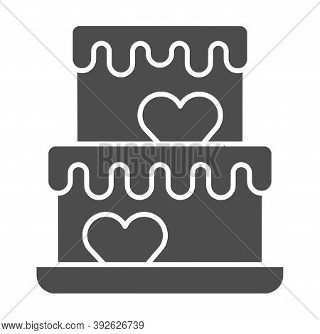 Two Tiered Cake With Hearts Solid Icon, Birthday Cupcake Concept, Wedding Cake Sign On White Backgro
