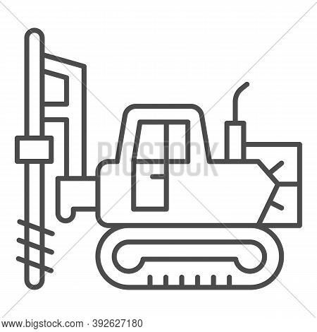 Large Excavator With Drill Thin Line Icon, Heavy Equipment Concept, Excavator With Hydraulic Hammer