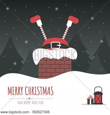 Santa Stuck In Chimney. Christmas Eve Night.