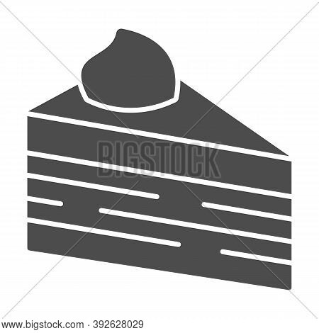 Slice Of Puff Cake Solid Icon, Birthday Cupcake Concept, Cake Slice Sign On White Background, Puff P
